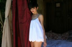Mini Bubble Baby Doll Nightgown White Cotton Summer Bridal Wedding Honeymoon Lingerie Sleepwear via Etsy.