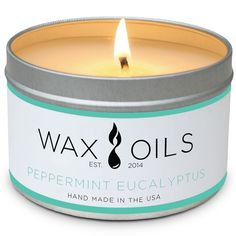 Wax and Oils Soy Wax Aromatherapy Scented Candles, Peppermint Eucalyptus, 8 oz -- Be sure to check out this awesome product.