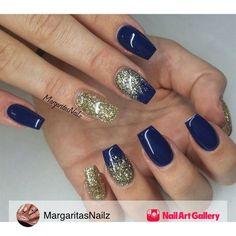 Ongle gel · bleu marine · navy blue and gold glitter nails by margaritasnailz from nail art gallery ongles, ongles à Blue Gold Nails, Dark Blue Nails, Navy Nails, Gold Acrylic Nails, Gold Glitter Nails, Acrylic Nail Designs, Matte Nails, Black Nails, Navy Gold