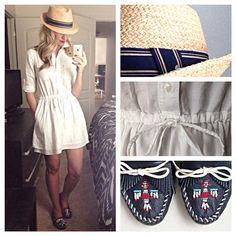 button-up dress + straw hat