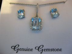 Sterling Silver Plated Genuine Stone Blue Topaz Pendant and Earrings Boxed Set  #DesignbyFMC