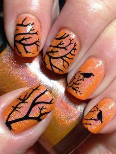 Smitten Safety Dance with Crows - #orangenails #nailart #orangeglitter #nails #mani #halloween #canadiannailfanatic