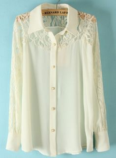 #SheInside White Lace Long Sleeve Pearls Buttons Chiffon Blouse