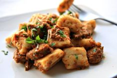 Ricotta Gnocchi with Sausage and Roasted Red Pepper Pesto - use a low carb flour to turn this into a low carb gnocchi!!!