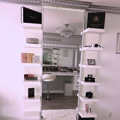 GLAM ROOM ✨💕 My dream Makeupbysooni vanity finally came to life! Thank you to my amazing father for making… is part of Glam room - Vanity Room, Vanity Decor, Vanity Set, Vanity Ideas, Closet Vanity, Room Interior, Interior Design Living Room, Beauty Room Decor, Vanity Shelves