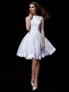 Lanting Bride® A-line Petite / Plus Sizes Wedding Dress Knee-length Bateau Organza / Satin with - USD $79.99