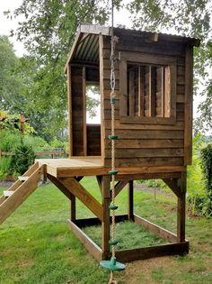 Backyard Fort, Backyard Playground, Backyard For Kids, Backyard Projects, Outdoor Projects, Outdoor Forts, Outdoor Pouf, Backyard Playhouse, Playhouse Plans