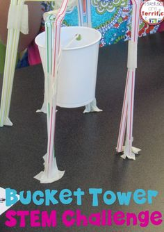 Tower building in STEM Class! Build a bucket tower with the suspended bucket able to hold weight! Easy materials and easy prep = lots of fun!
