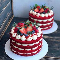 Pretty Cakes, Cute Cakes, Yummy Cakes, Baking Recipes, Cake Recipes, Dessert Recipes, Bolo Red Velvet, Red Velvet Cakes, Blue Velvet