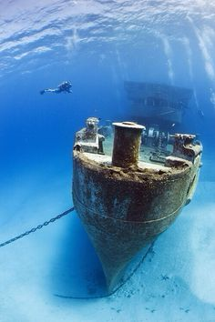 Scuba diving to one of the Shipwrecks off Grand Cayman Island Under The Water, Under The Sea, Abandoned Ships, Abandoned Places, Underwater Photos, Underwater Photography, Ghost Ship, Shipwreck, Ocean Life