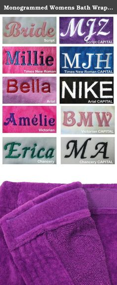 Monogrammed Womens Bath Wrap, Cotton Wraps for Womens and Girls L / XL Size Purple Color. 100% TERRY VELOUR COTTON SPA WRAPS FOR WOMEN -One patch pocket, double stitch for durability. -Terry cloth coverup towels can be used for bath, spa, shower, swimming pool, lounge or sauna. -400 gsm 100% Cotton, 21 single/2 ply ring spun yarn loops, triple sheared terry on the outside and loop terry cloth on the inside. -Available Colors: Purple, White, hot pink, Red, Back, Pink and Navy. -Here is the...