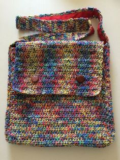 Multicoloured Handmade Crocheted Messenger Bag