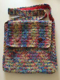 Multicoloured Handmade Crocheted Messenger Bag
