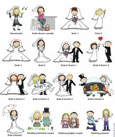 Wedding Bodies Pen At Hand - Stick Figure Products by Ronnie Horowitz Bride And Groom Cartoon, Stick Figure Drawing, Tie The Knot Wedding, Kawaii Doodles, Cute Girl Drawing, Sharpie Art, Cartoon People, Cartoon Sketches, Sketch Notes
