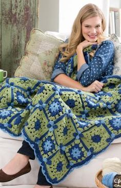 Flower Path Throw Free Crochet Pattern from Red Heart Yarns--Love the blue and green combination Crochet Squares Afghan, Crochet Quilt, Afghan Crochet Patterns, Crochet Yarn, Granny Squares, Crochet Flower, Crochet Blankets, Crochet Afgans, All Free Crochet