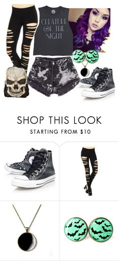 """""""Creature of the Night"""" by wahtthefudge-666 ❤ liked on Polyvore featuring Converse and Levi's"""