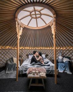 romanticcoupleinsideofyurt Mongolia, Outdoor Furniture, Outdoor Decor, Finland, Places To Go, Travel, Home Decor, Arctic, Viajes
