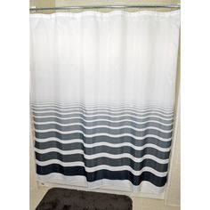 Treated with a water repellancy product and made from 100 percent polyester, this Horizon fabric shower curtain is tough against mildew and easy on care. It is recommended to use a liner for additional curtain life expectancy.