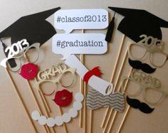 Graduation Photo Booth Props. Graduation Photos. Class of 2013. High School Graduation. College Graduation. Graduation Party. Set of 15.
