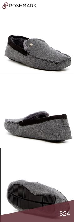 Steve Madden Gray Spire Faux Fur Lined Slipper for 1/2 sizes, order next size up. Moc toe. Slip-on. Faux fur lining. Cushioned insole. Textile upper, faux fur (100% polyester) lining, TPR sole. Color: gray Steve Madden Shoes Loafers & Slip-Ons