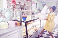 Cake Makers – Masha P and Anna I make sweet confections for the February edition of Marie Claire China, shot by Amber Gray. The pastel designs of Louis Vuitton, Prada and Jean Paul Gaultier serve as inspiration for stylist Guillaume Boulez as the duo enjoys a day of messy cake making. Pastel hair by Yoichi Tomizawa.
