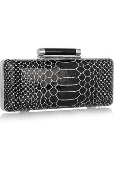 DIANE VON FURSTENBERG  Tonda python-effect patent-leather box clutch