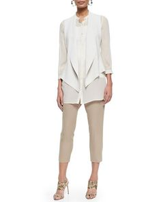 MUST - $218.00- SHEER SHIRT Angled Silk Cotton Interlock Vest, Long Silk Georgette Top, Slim Camisole & Drawstring Harem Ankle Pants   by Eileen Fisher at Neiman Marcus.