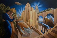 art deco paintings | ... - the art in my head . . .: Hip Art Deco Travel Theme Painting