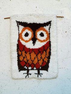 Vintage Owl Wool Tapestry Woven Art