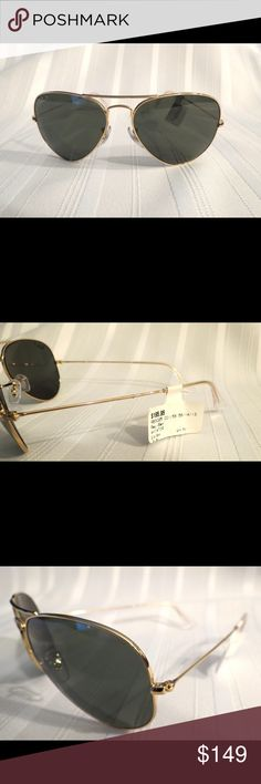 NWT Ray-Ban Polarized Gold Rim Aviator Sunnies RB2035  Green Polarized lens gold frames, perfect NEW with tags. All of my items are absolutely positively guaranteed 100% genuine, I do not sell FAKE anything!  No Trades (S077) Ray-Ban Accessories Sunglasses