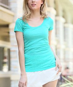 Another great find on #zulily! Mint Melange Scoop Neck Tee by 42POPS #zulilyfinds