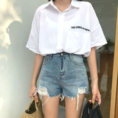 37 Amazing Korean Summer Fashion Ideas - Ulzzang Summer Fashion - Source by taenihht Korean Fashion Trends, Korea Fashion, Asian Fashion, Look Fashion, Fashion Design, 90s Fashion, Womens Fashion, Korea Summer Fashion, Sweet Fashion