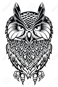 Illustration of Owl.Tattoo owl vector art, clipart and stock vectors. Owl Tattoo Design, Tattoo Designs, Tattoo Ideas, Tribal Owl Tattoos, Tattoo Owl, Bird Coloring Pages, Adult Coloring Pages, Shapes Images, Tribal Animals