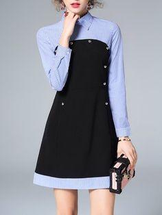 Blue Stripes Shirt Collar Long Sleeve Mini Dress