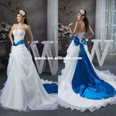 Gorgeous Elegant Satin Lace Appliqued wirh Bowknot Sash Royal Blue and White Wedding Dresses Baby Blue Wedding Dresses, Cheap Wedding Dress, Wedding Colors, Bridesmaid Dresses, Wedding Ideas, Blue Dresses, Wedding Pictures, Wedding Details, Bridal Gowns