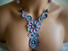 elegant blue and pink necklace with love and by TheAnatolianstyle