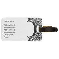 Black and White - Luggage Tag Template