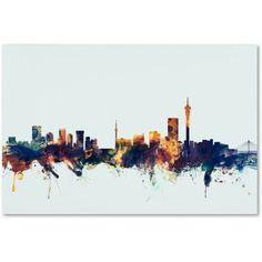 Trademark Fine Art Johannesburg Skyline Blue Canvas Art by Michael Tompsett, Size: 22 x Multicolor Blue Canvas Art, Canvas Prints, Canvas Size, Johannesburg Skyline, Framed Maps, Map Art, Artist Canvas, Online Art Gallery, Art Reproductions