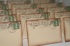 50 - Wedding Place Cards - Vintage Post Cards Placecards with Canada Stamp - Escort Cards - Tent Table Place Cards