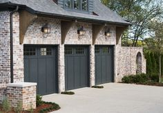 Scroll through home builder Castle Homes photo gallery of interesting custom home elevations throughout Nashville & Middle Tennessee. Black Garage Doors, Garage Door Colors, Black Interior Doors, Front Doors, English Country Style, Country Style Homes, French Country House, English Tudor Homes, English House