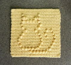 (4) Name: 'Crocheting : Cat Crochet Dishcloth Square