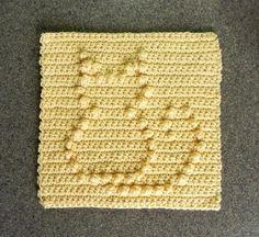 (4) Name: 'Crocheting : Cat Crochet Dishcloth Square