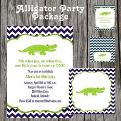 Alligator Party Package - Alligator Baby Shower - Alligator Birthday Party - DIY - Choose 8 items. $40.00, via Etsy.