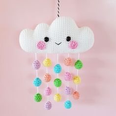 """Cloud Mobile Crochet Pattern ~ finished size 5.5"""" x 7.5"""" (14 x 19 cm) well written instructions with lots of step-by-sep pictures ~ PURCHASED pattern - CROCHET"""