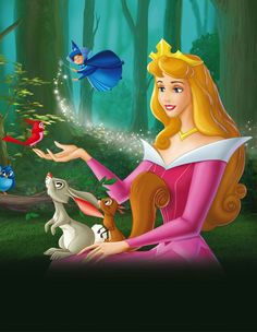 Princess Aurora with her animal friends and Merryweather
