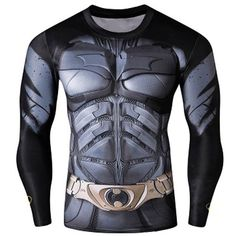 Quick-Dry Skinny Cool 3D Batman Pattern Round Neck Long Sleeves Superhero T-Shirt For Men