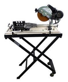 """New Commercial 10"""" Wet Tile Brick Granite Saw with Laser Guider. Good for cutting tile, brick, ceramic, paver, granite, marble .etc. Including a Folding table stand. Brand New Electric 10"""" Diamond Blade Wet Tile Saw with Laser. Motor Power: 2.5HP. Built in water pump & laser equipment. Power: 110-120v / 60hz. Max cutting length: 27. (690mm). Cutting Blade: 10"""" (diameter), 5/8"""" arbor diamond blade. Max cutting thickness: 3. Motor: 3450 Rpm."""