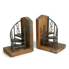 These spiral staircase bookends are AWESOME! Import Collection 'Marris' … These spiral staircase bookends are AWESOME! Dream Library, Grand Library, Repurposed Wood, Salvaged Wood, Deco Design, Design Design, Plywood Furniture, Deco Furniture, Industrial Furniture
