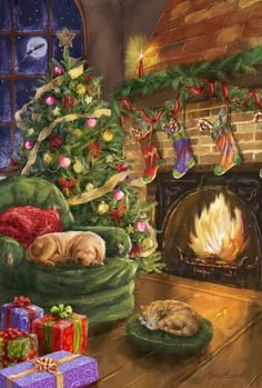 Weihnachtsbilder Decorated Home With Christmas tree Hung Stockings, and a dog and cat curled up near Christmas Scenes, Noel Christmas, Christmas Animals, Winter Christmas, Christmas Ornaments, Reindeer Ornaments, Cheap Christmas, Homemade Christmas, Family Christmas