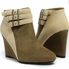 65d6161a9f1 Qupid wedge bootie Once worn wedge bootie! Two toned with cute buckle  accents. Qupid Shoes Wedges